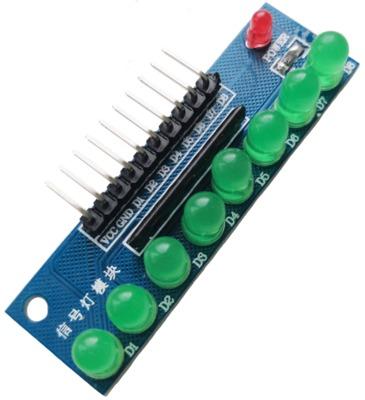 บอร์ดทดลอง LED Module 8ดวง 5mm สีเขียว