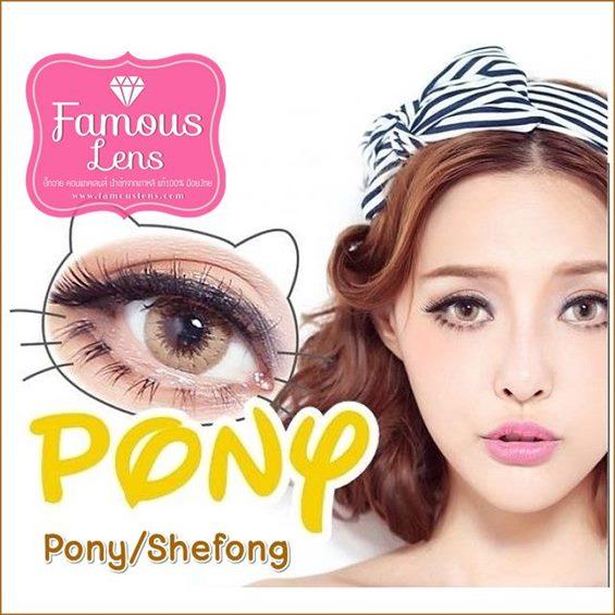 Pony She fong Gray Brown EFF.16 Mini Pony คอนแทคเลนส์ บิ๊กอายเกาหลี bigeye Famouslens contact lens ราคาถูก