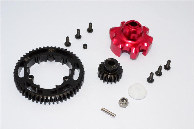 ALUMINIUM GEAR ADAPTER+STEEL SPUR GEAR 53T+MOTOR GEAR 18T - 1SET