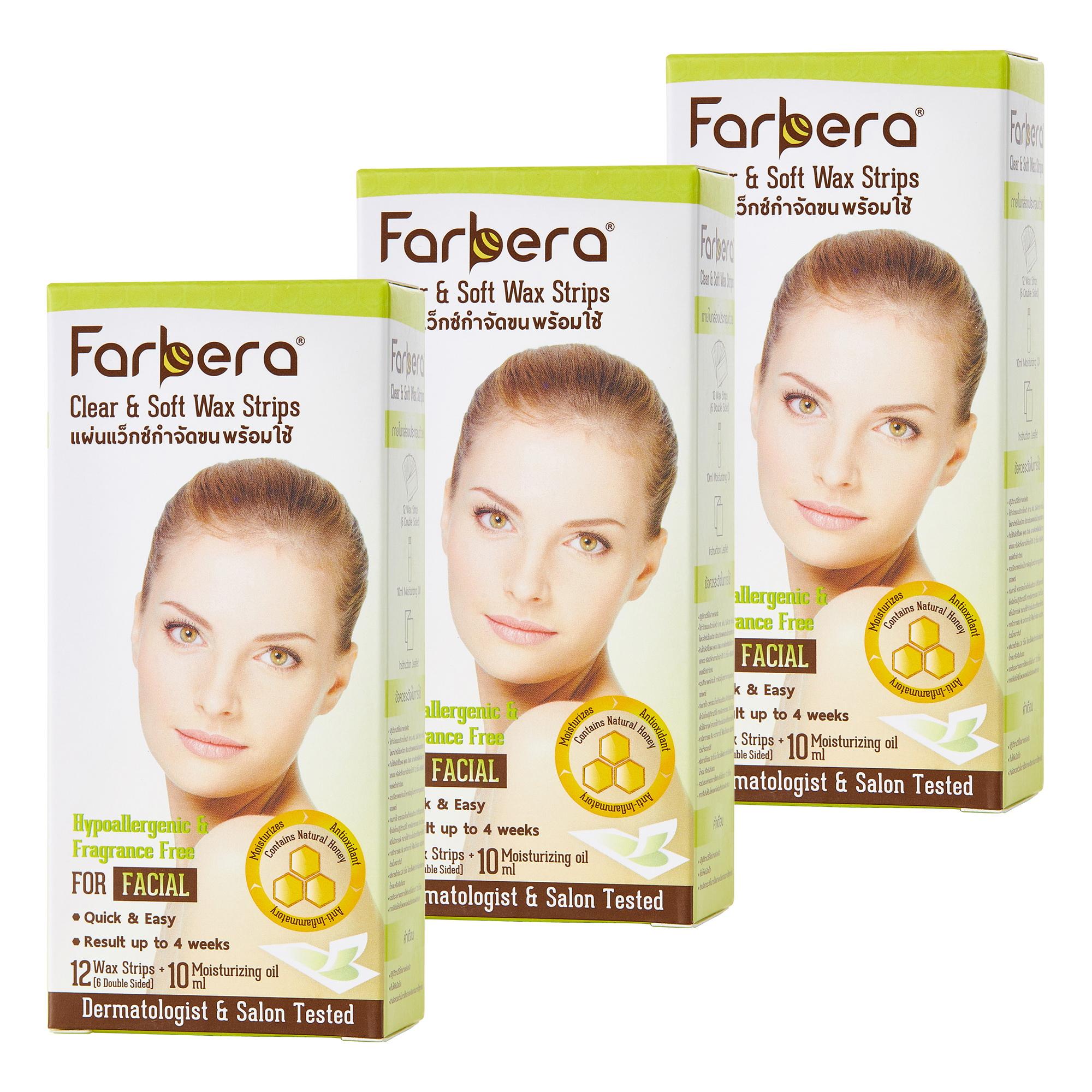 แพ็คx3 - Farbera Clear & Soft Wax Strips (For facial) 12 แผ่น