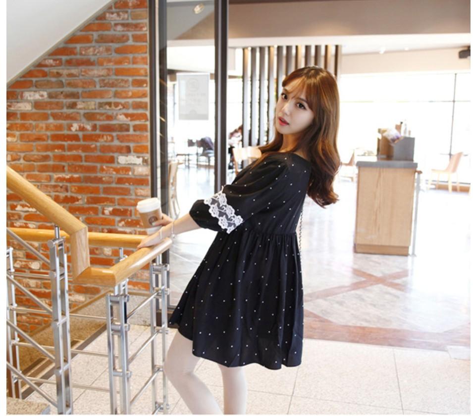 ชุดคลุมท้องแฟชั่นเกาหลี ดำลายจุด ปลายแขนลูกไม้ เนื้อผ้าดี น่ารักฝุดๆ M,L,XL