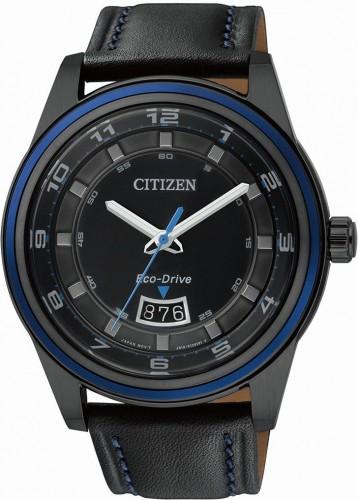 นาฬิกาข้อมือผู้ชาย Citizen Eco-Drive รุ่น AW1275-01E, Black IP & Blue 100m Sports Leather