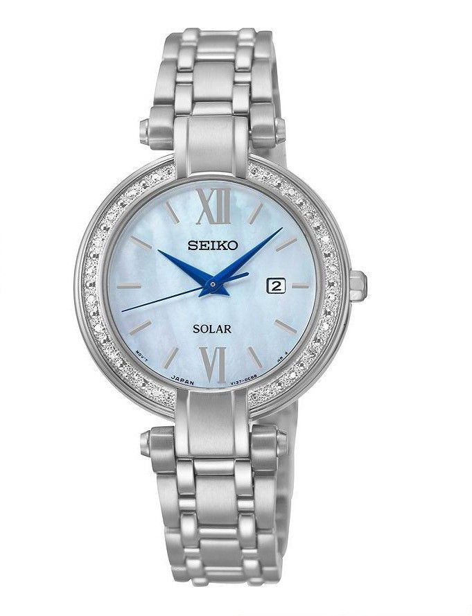 นาฬิกาผู้หญิง Seiko รุ่น SUT181, Tressia Solar Diamond Mother Of Pearl Dial Stainless Steel