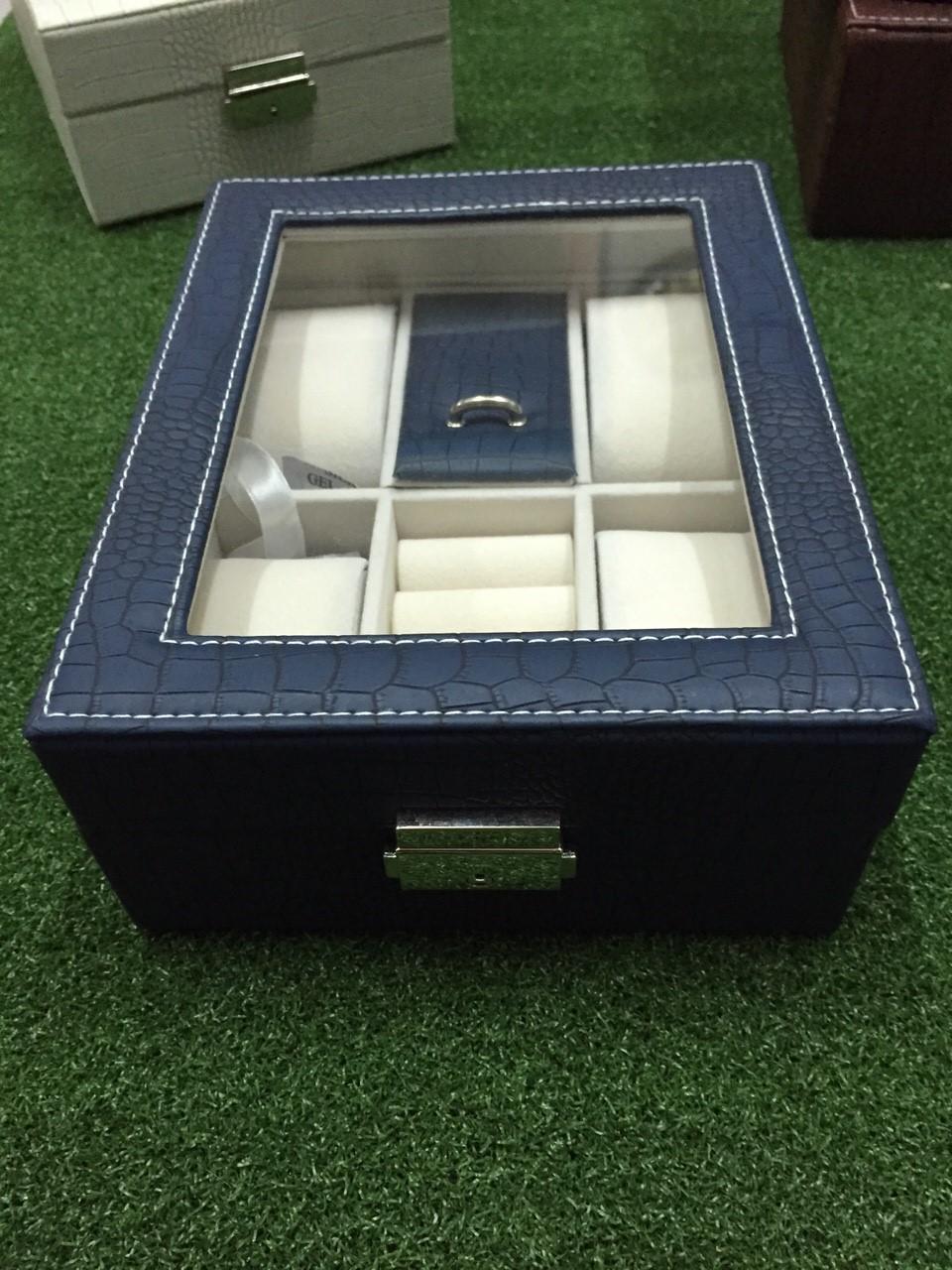 กล่องนาฬิกา 6 ช่องลายหนังจรเข้ สีน้ำเงิน