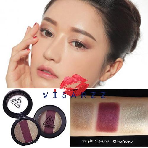 3CE Triple Shadow 3.5g # NoNoNo อายแชโดว์รวม 3 สี ไว้ใน 1 ตลับ สีประกายเงาสวยมาก ได้ลุคนางเอกซีรีย์เกาหลี เนื้อละเอียด พิกเม้นต์แน่น