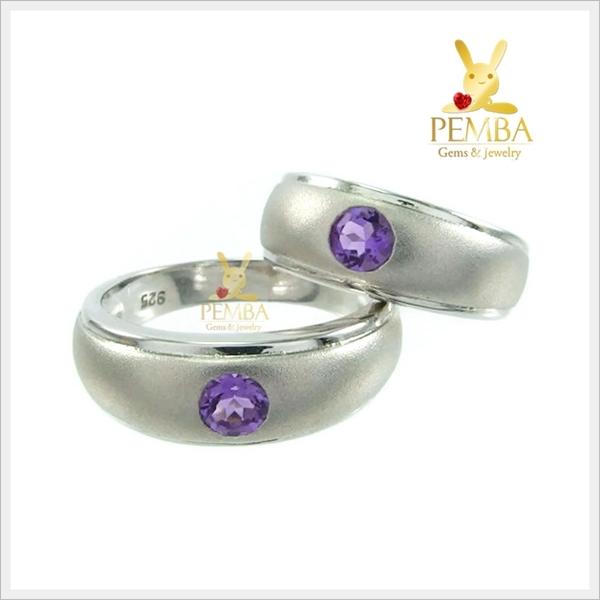 แหวนพลอยคู่รัก Feel good ฝังพลอยอเมทิสต์แท้