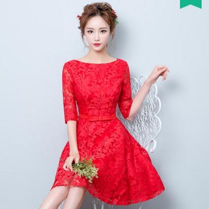 ชุดเดรสออกงาน ชุดไปงานแต่งงานสวย น่ารักๆ สีแดง คอกลม แขนสามส่วน เอวแต่งโบว์ กระโปรงทรงบาน