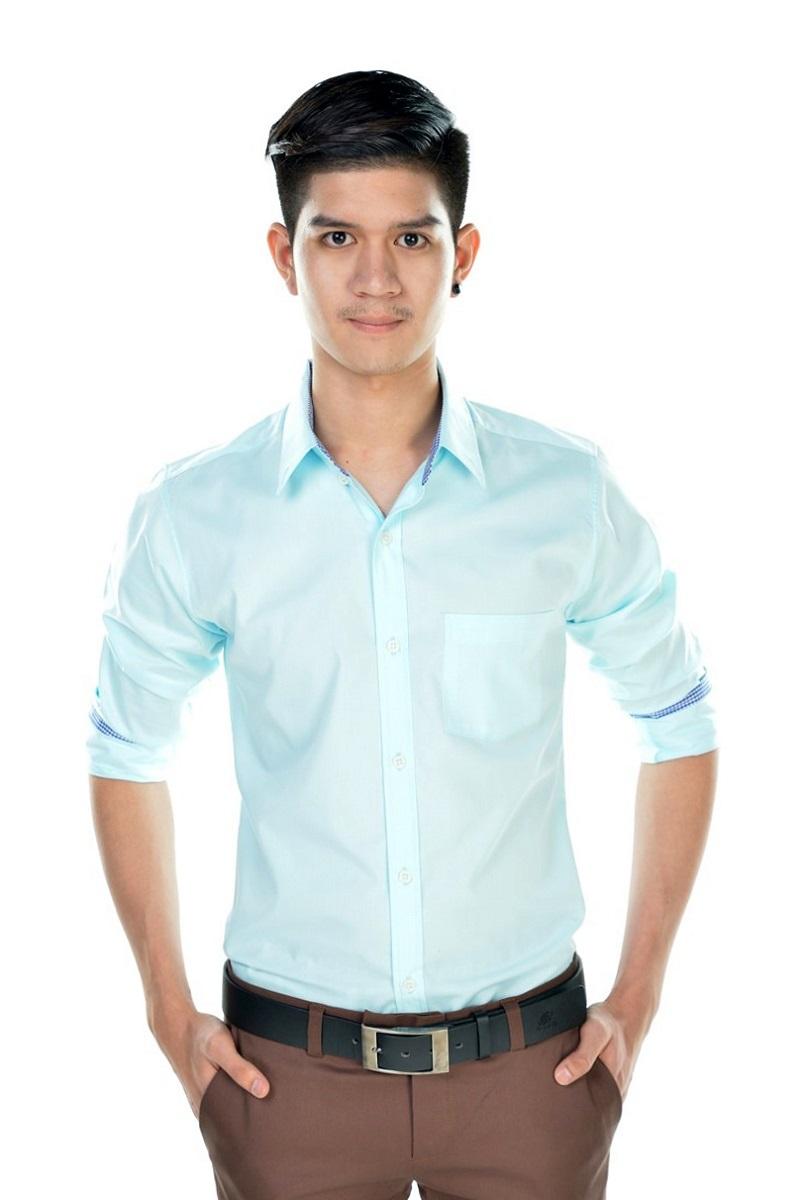 เสื้อเชิ้ตผู้ชายสีฟ้ามิ้นท์ ผ้าคอตตอน
