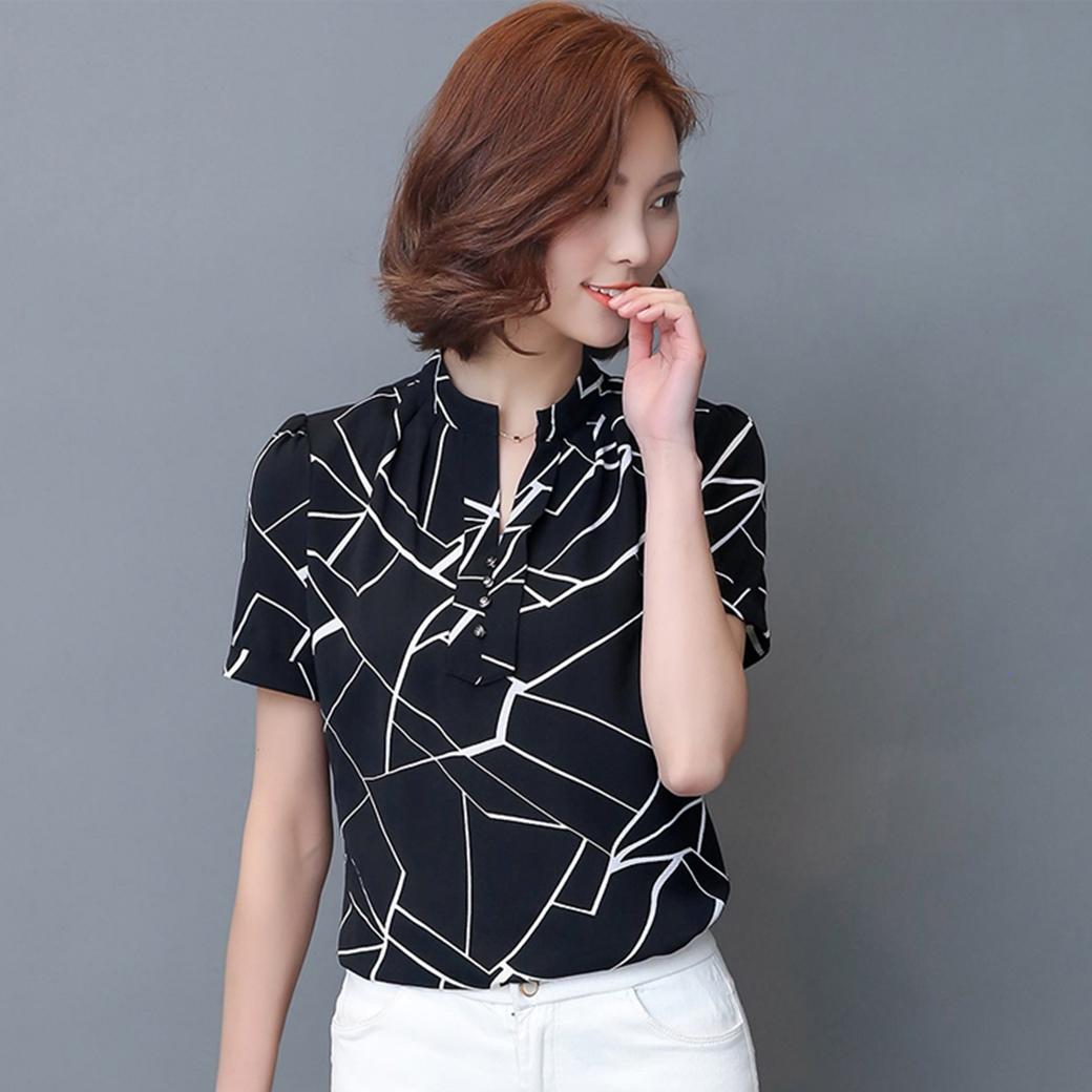 เสื้อทำงานสีดำ คอเชิ้ต แขนสั้น ผ้าสีฟอง สินค้าพร้อมส่ง ชุดสวยเหมือนแบบ การันตีคุณภาพ