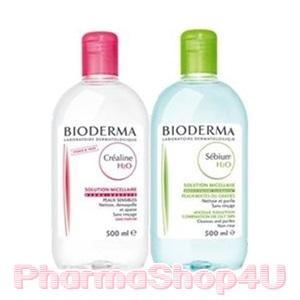 (มีเลขจดแจ้งอย.ถูกต้อง) (แพคคู่เขียว-ชมพู) Bioderma Sensibio Crealine H2O 500mL และ Bioderma Sebium H2O 500mL ทำความสะอาดผิวหน้า และเช็ดเครื่องสำอาง