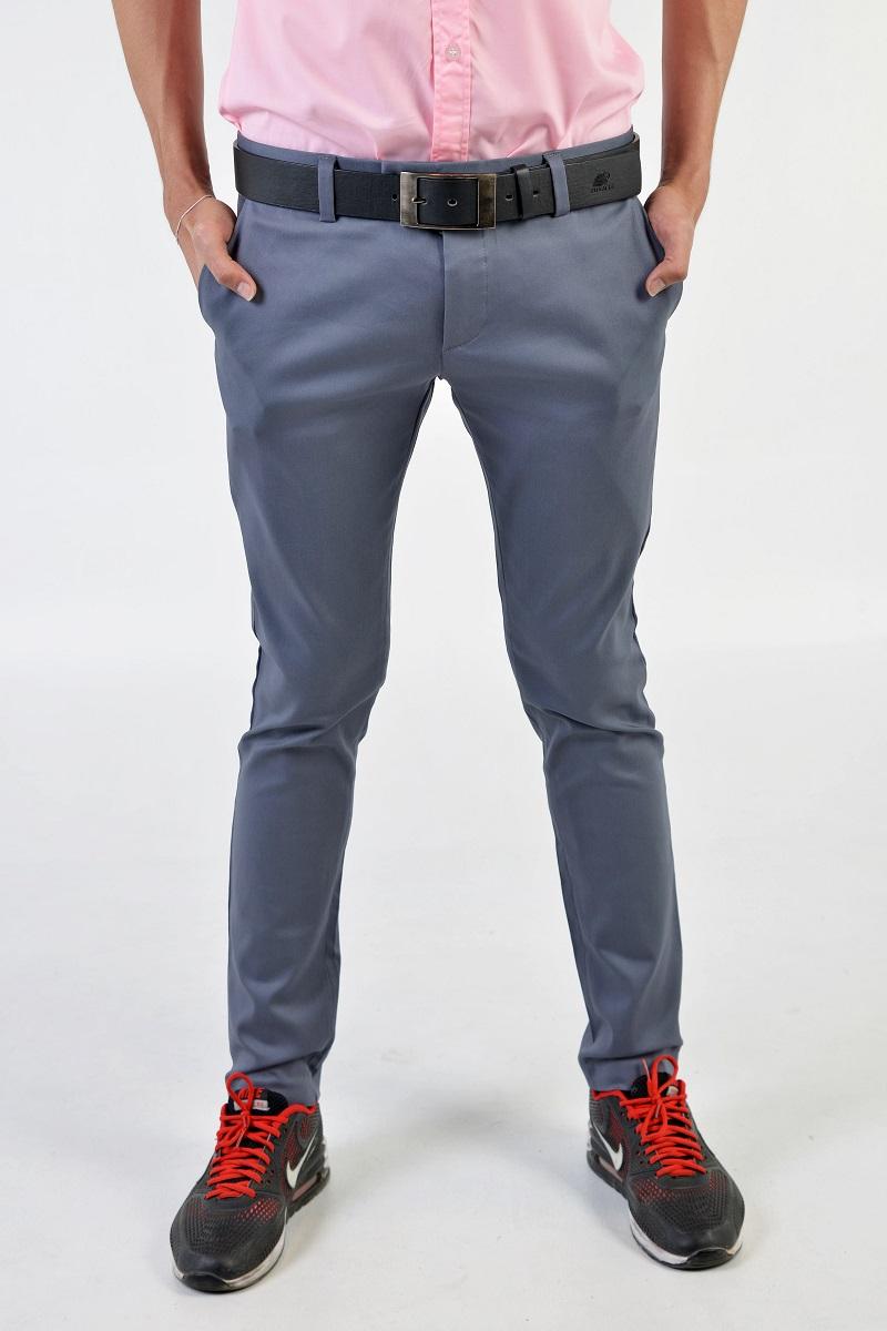 กางเกงสแล็คผู้ชายสีเทา ผ้ายืด ขาเดฟ