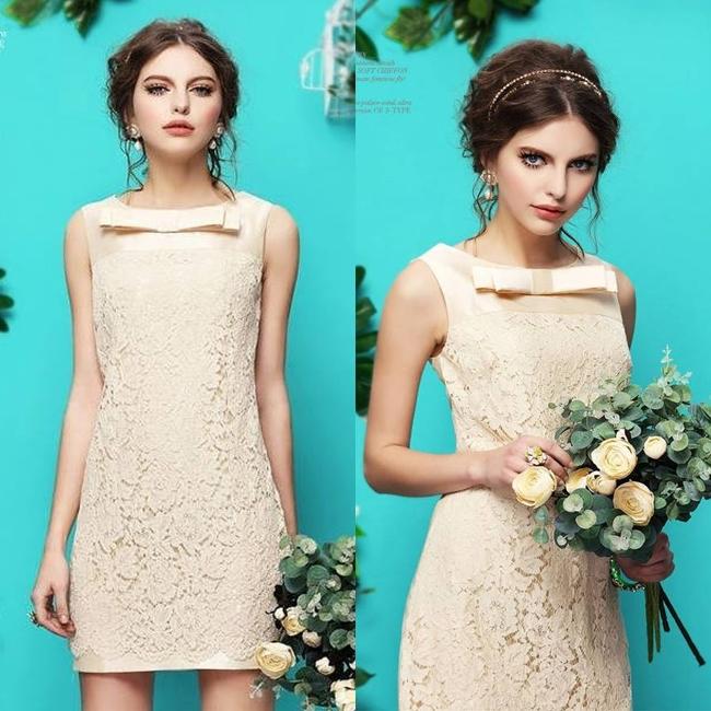 ชุดเดรสลูกไม้สวยหรู สีครีมเบจ ลุคสาวหวานเรียบหรู ชุดเดรสไปงาน ออกงาน ไปงานแต่งงาน