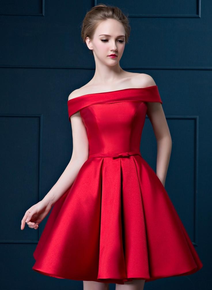 ชุดเดรสไปงานสีแดง เปิดไหล่ ผ้าไหมอิตาลี สวยหรู ดูดี เหมาะสำหรับใส่ไปงานแต่งงานกลางวัน/กลางคืน งานเลี้ยง งานบายเนียร์