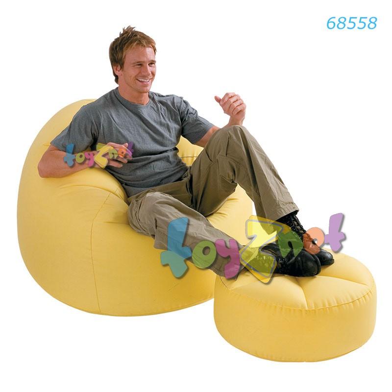 Intex เก้าอี้เป่าลมบีนเลสแบ๊ก พร้อมที่วางเท้า (สีเหลือ) รุ่น 68558