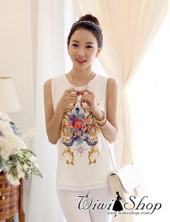 เสื้อแขนกุด สีขาว ผ้าชีฟอง คอกลม แขนกุด พิมพ์ลายสวยๆ