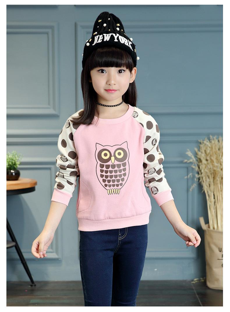 C125-51 เสื้อกันหนาวเด็กสีชมพู พิมพ์ลายนกฮูกน่ารัก ขนกำมะหยี่ ใส่อุ่นสบาย