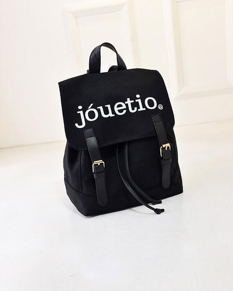 พร้อมส่ง-กระเป๋าเป้ สะพายหลังสไตล์ญี่ปุ่น สกรีนJouetio สีดำ