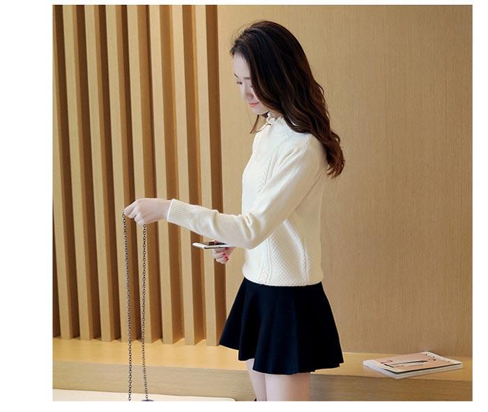 เสื้อไหมพรมแฟชั่นกันหนาว เสื้อสเวตเตอร์คอปีน สีขาว แขนยาว ลายถักสวย