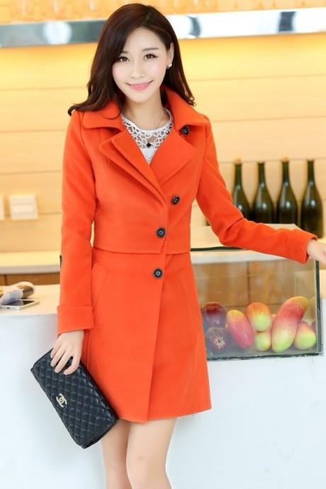 (สินค้าหมด) เสื้อโค้ทกันหนาว สีส้ม คอปก กระดุมหน้า ตัวยาวคลุมสะโพก