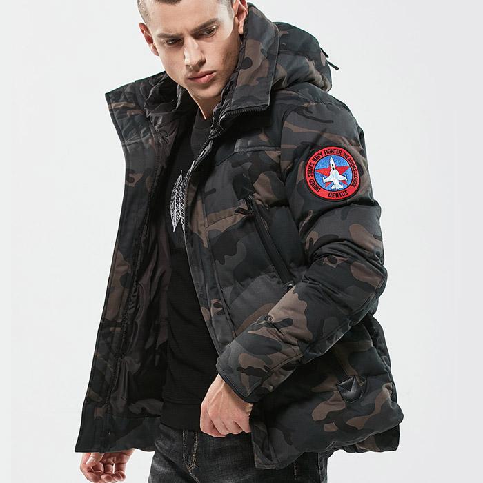 เสื้อกันหนาวผู้ชาย เสื้อแจ็คเก็ตผู้ชายมีฮู้ด ลายพรางทหารสีเทา บุหนา ติดอาร์มเท่ๆ