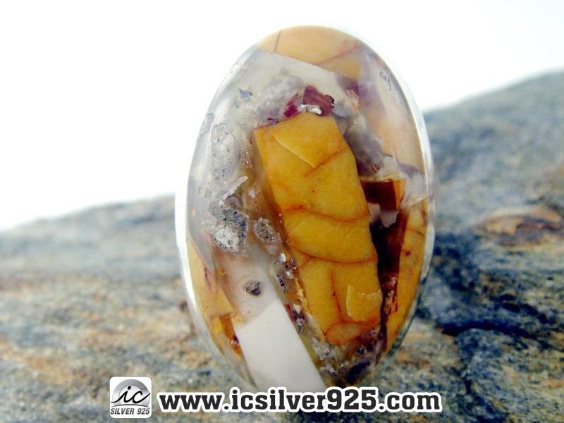 ▽Brecciated Mookaite แหวนเงินแท้ 925 (แหวนเบอร์ : 57, 7.8g)