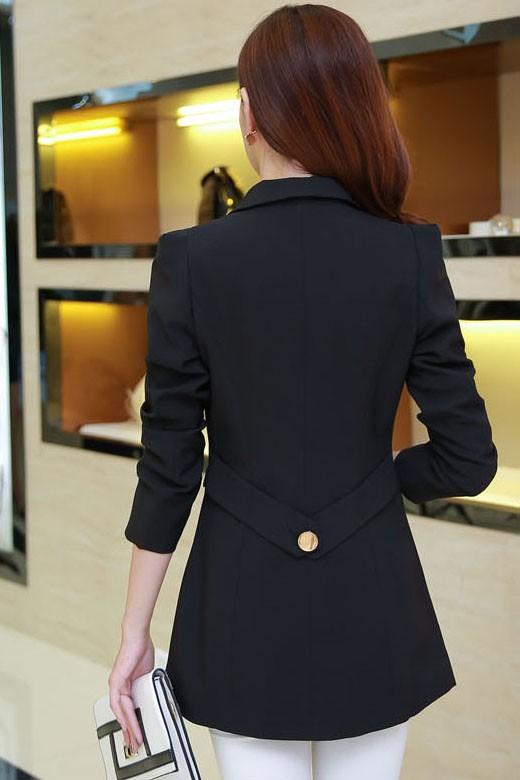 เสื้อสูทแฟชั่นผู้หญิง เสื้อสูททำงานแขนยาว สีดำ ตัวยาว คลุมสะโพก แขนยาว คอปกเก๋ แต่งสายคาดเอวด้านหลัง