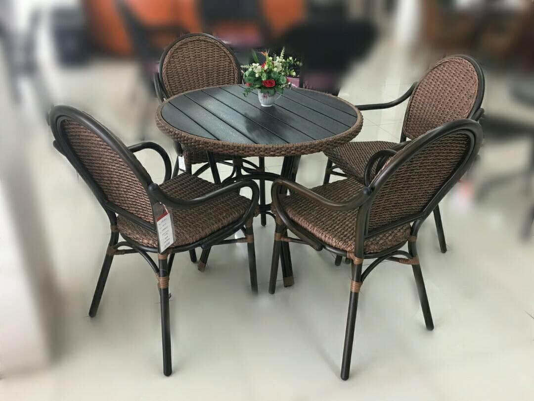 ชุดโต๊ะหวาย 4 ที่นั่ง KARNET-W