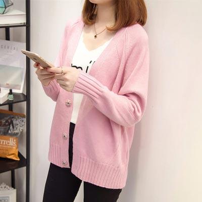 เสื้อคลุมไหมพรมคาร์ดิแกน เสื้อคลุมผู้หญิงแฟชั่นสวยๆ แขนยาว สีชมพู แบบติดกระดุม