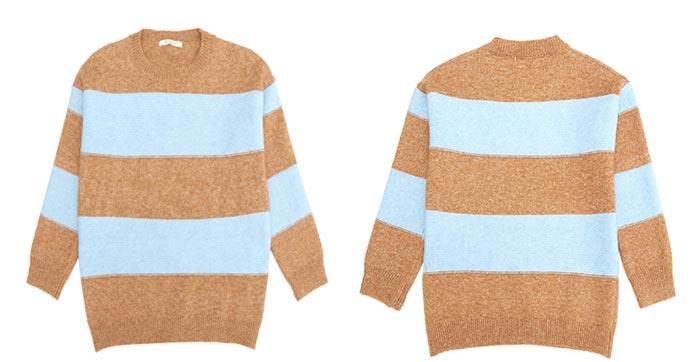 เสื้อไหมพรมแฟชั่นกันหนาว เสื้อสเวตเตอร์ ลายขวาง สีน้ำตาลกาแฟ แขนยาว