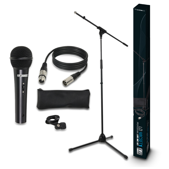 LD SYSTEM MICROPHONE SET WITH MICROPHONE, STAND, CABLE AND CLAMP