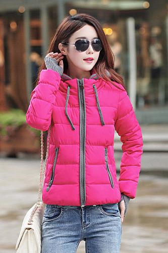 เสื้อโค้ทกันหนาว สีชมพูบานเย็น ตัดสีเทา มีฮู้ท แบบซิปรูด