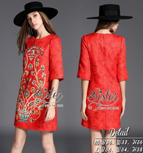 2Sister Made, Red Gold Luxury Dress Adorn