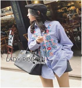 Lady Ribbon Cotton Shirt เชิ้ตลายทางสีฟ้าปักลายดอกไม้