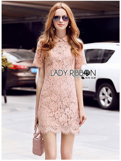 Pink Lace Mini Dress Lady Ribbon มินิเดรส