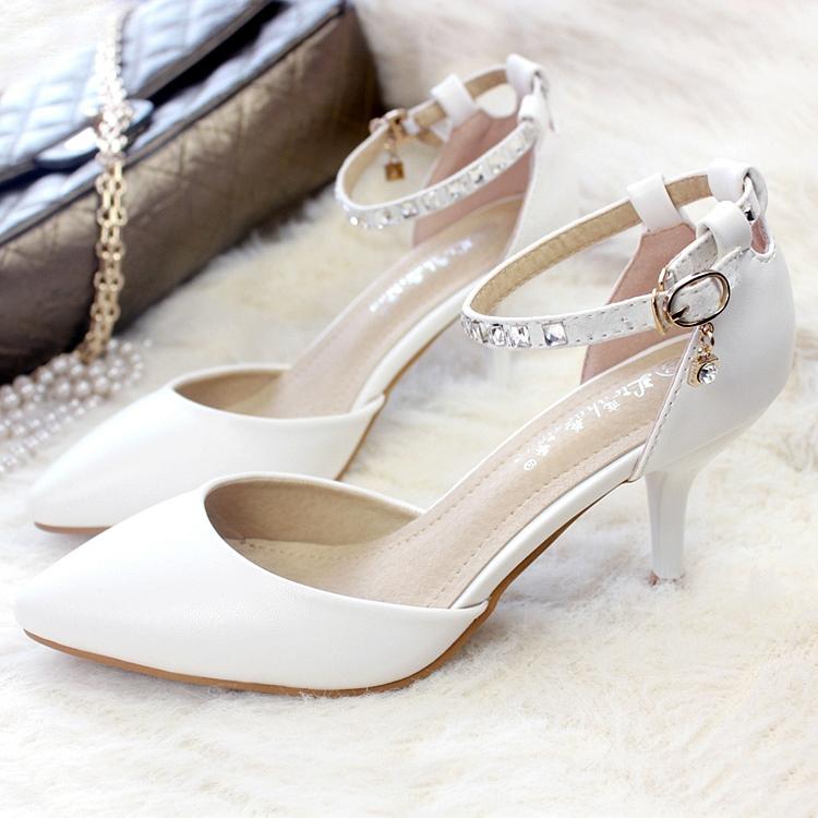SH_1184, รองเท้ารัดข้อ ประดับคริสตัลขาว, Size 34-40, White, June, 2015, Asain shoes, ~999