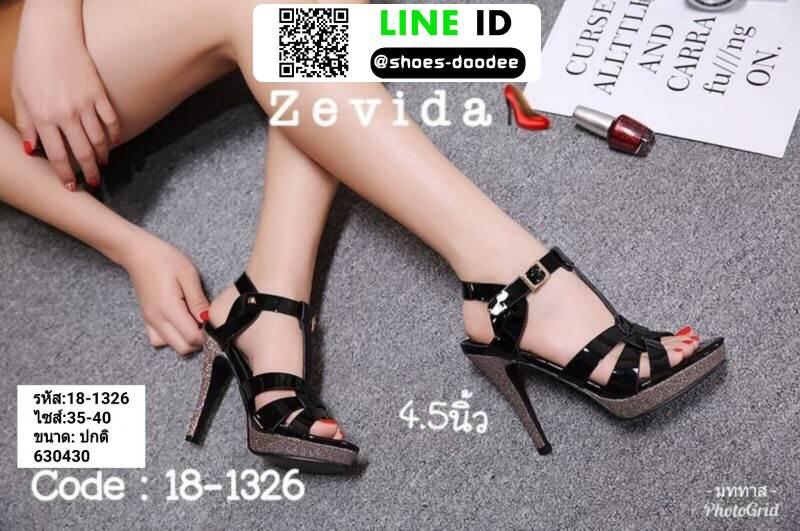 รองเท้าส้นสูงสไตล์YSL 18-1326-BLK [สีดำ]
