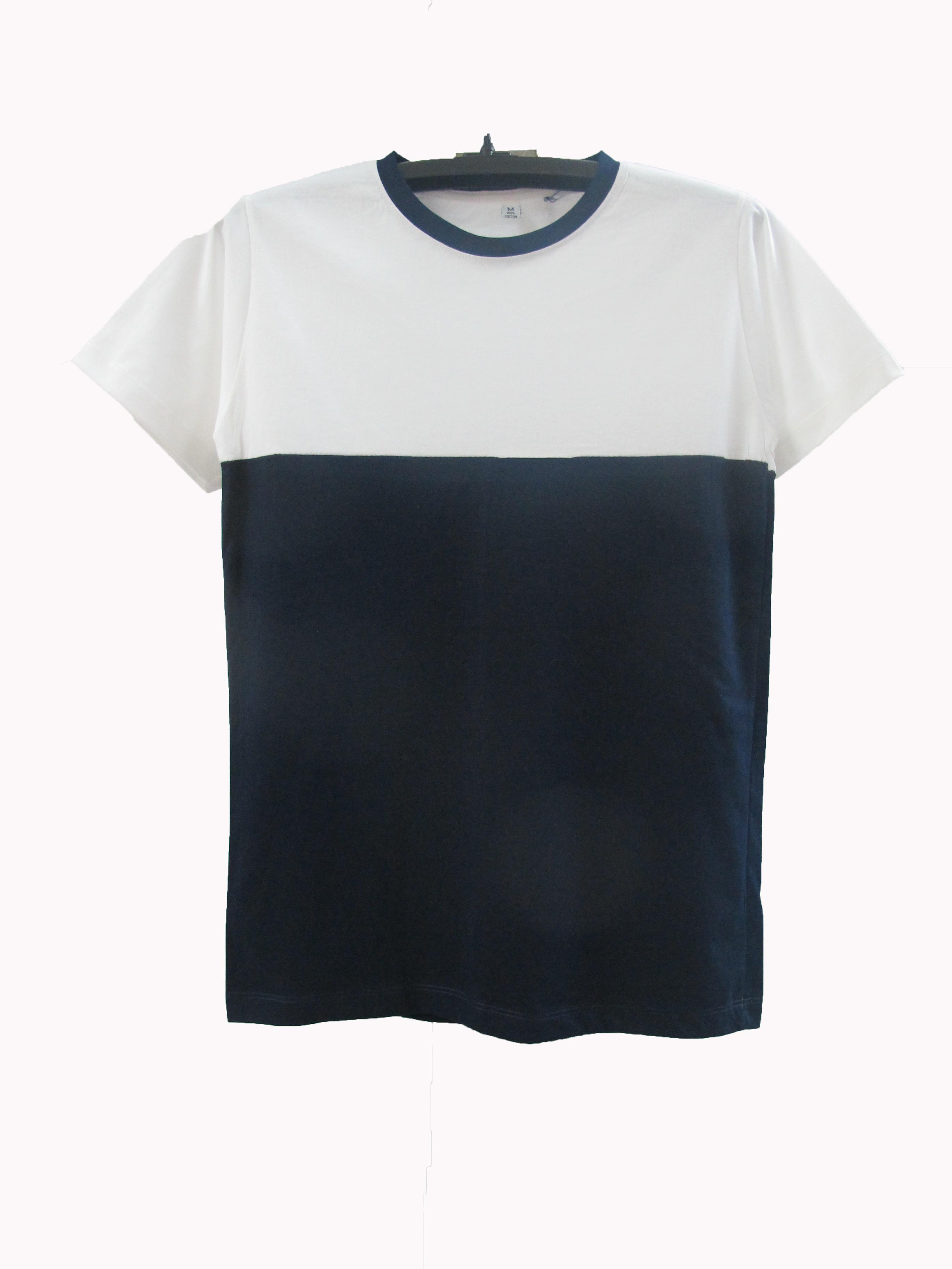 เสื้อตัดต่อข้างบนขาวข้างล่างสี สีกรม