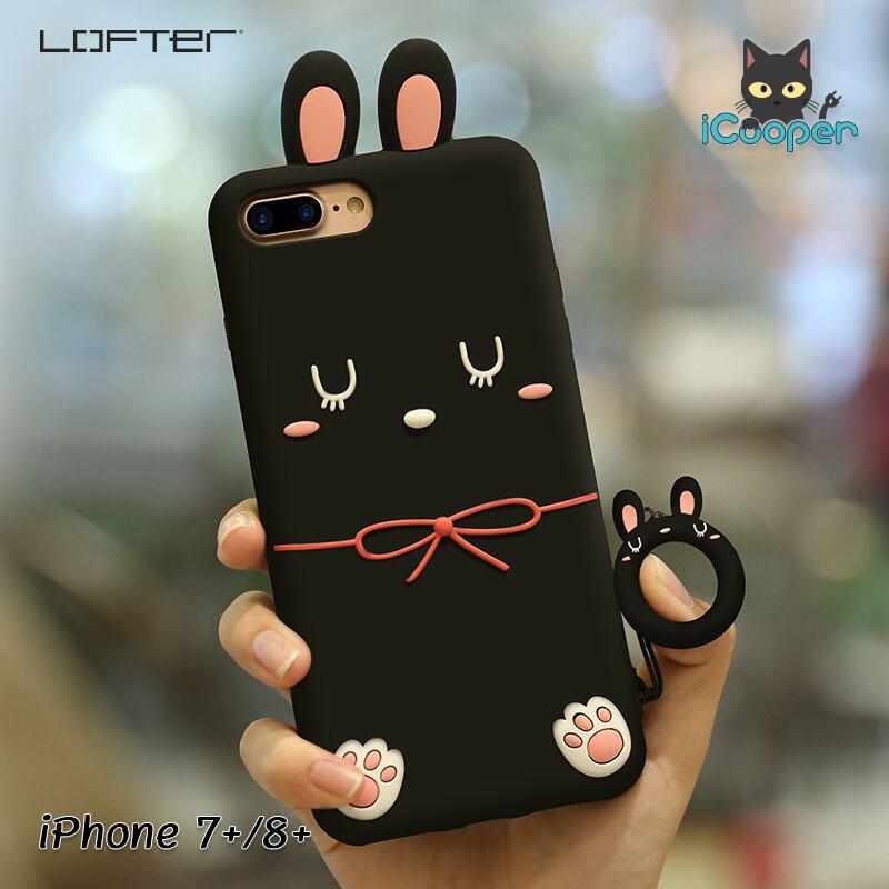 LOFTER Rabbit Silicone Ring - Black (iPhone7+/8+)