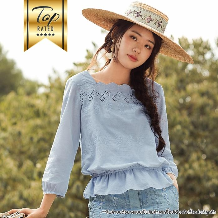 [สินค้าป้ายทอง] เสื้อเบลาส์ผ้าฝ้าย 100% ฉลุลาย (มีให้เลือก 3 สี 4 ไซส์)
