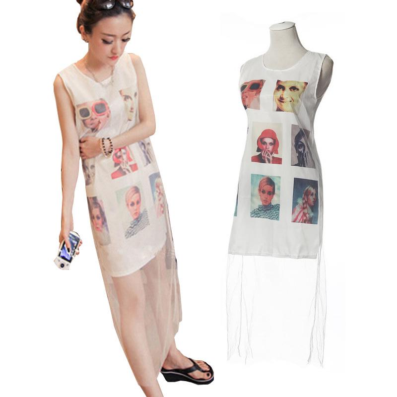 (Pre Order) ชุดลำลอง Vestidos ยาว สุภาพสตรีแฟชั่นฤดูร้อนแขนกุด Maxi Dress พิมพ์ลายน่ารักมาก สินคัามีสีเดียว ขนาดสินค้า -M,L,XL,XXL