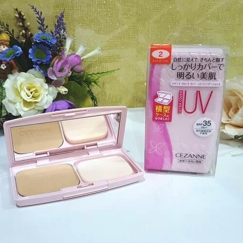 #แป้งผสมรองพื้น #Cezanne Ultra Cover UV Foundation II Powder ตลับชมพู