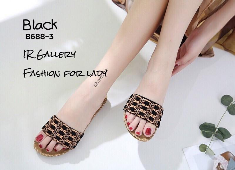 รองเท้าลำลองแบบสวมสีดำ วัสดุหนังนิ่ม B688-3-ดำ