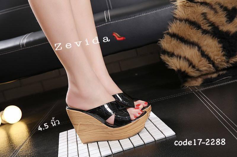 พร้อมส่ง รองเท้าส้นเตารีด สไตล์เกาหลี 17-2288-BLK [สีดำ]
