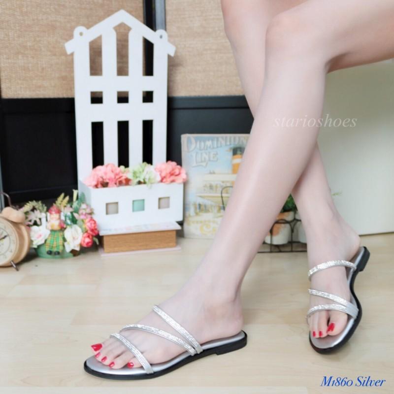 พร้อมส่ง รองเท้าแตะผู้หญิง M1860-SIL [สีเงิน]