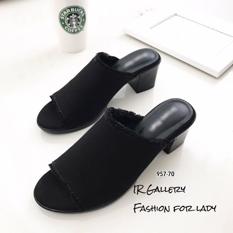 พร้อมส่ง รองเท้าส้นตันเปิดส้นสีดำ ผ้ายีนส์แต่งชายลุ่ย แฟชั่นเกาหลี [สีดำ ]