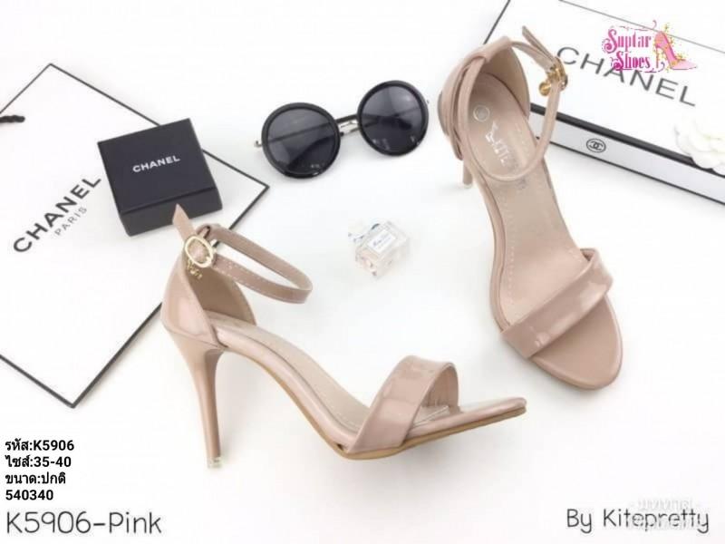 พร้อมส่ง รองเท้าส้นเข็มรัดข้อ K5906-PNK [สีชมพู]