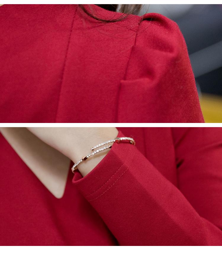 ชุดเดรสทำงานแฟชั่นเกาหลีสีแดงแขนยาวมีซิบหลังกระโปรงบาน