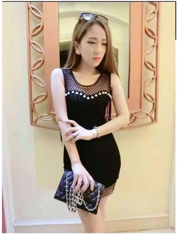 รับตัวแทนจำหน่ายชุดเดรสแฟชั่นเกาหลีสีดำแขนกุด
