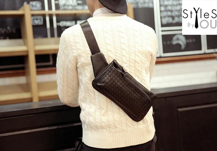 กระเป๋าคาดอก กระเป๋าคาดเอว หนัง PU ลายสาน สีดำ พร้อมส่ง