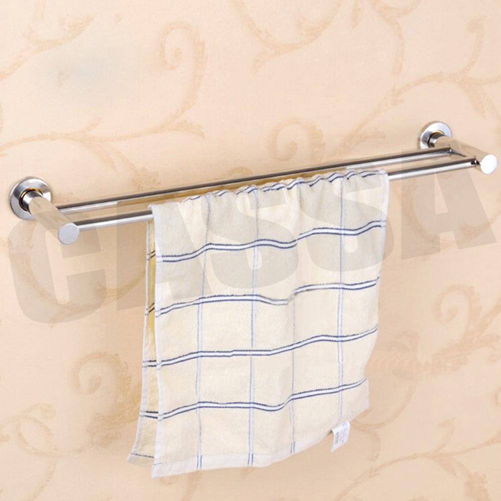 CASSA ราวแขวนผ้า สแตนเลส201 ราวคู่ ในห้องน้ำ แบบติดผนัง ขนาด60cm. รุ่น C11-SS201-260